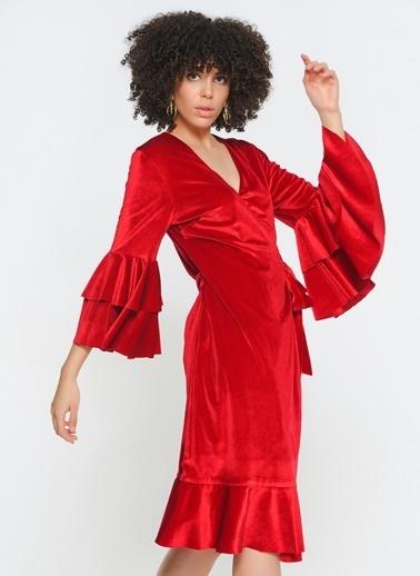 Zeynep Ökmen Kol Ve Etek Ucunda Volan Detaylı Elbise Kırmızı